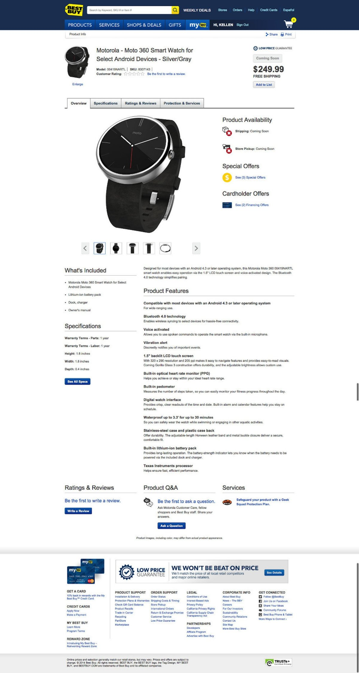 Best Buy leaks Moto 360 watch price and specs